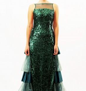 Vestido de lentejuelas largo de color verde