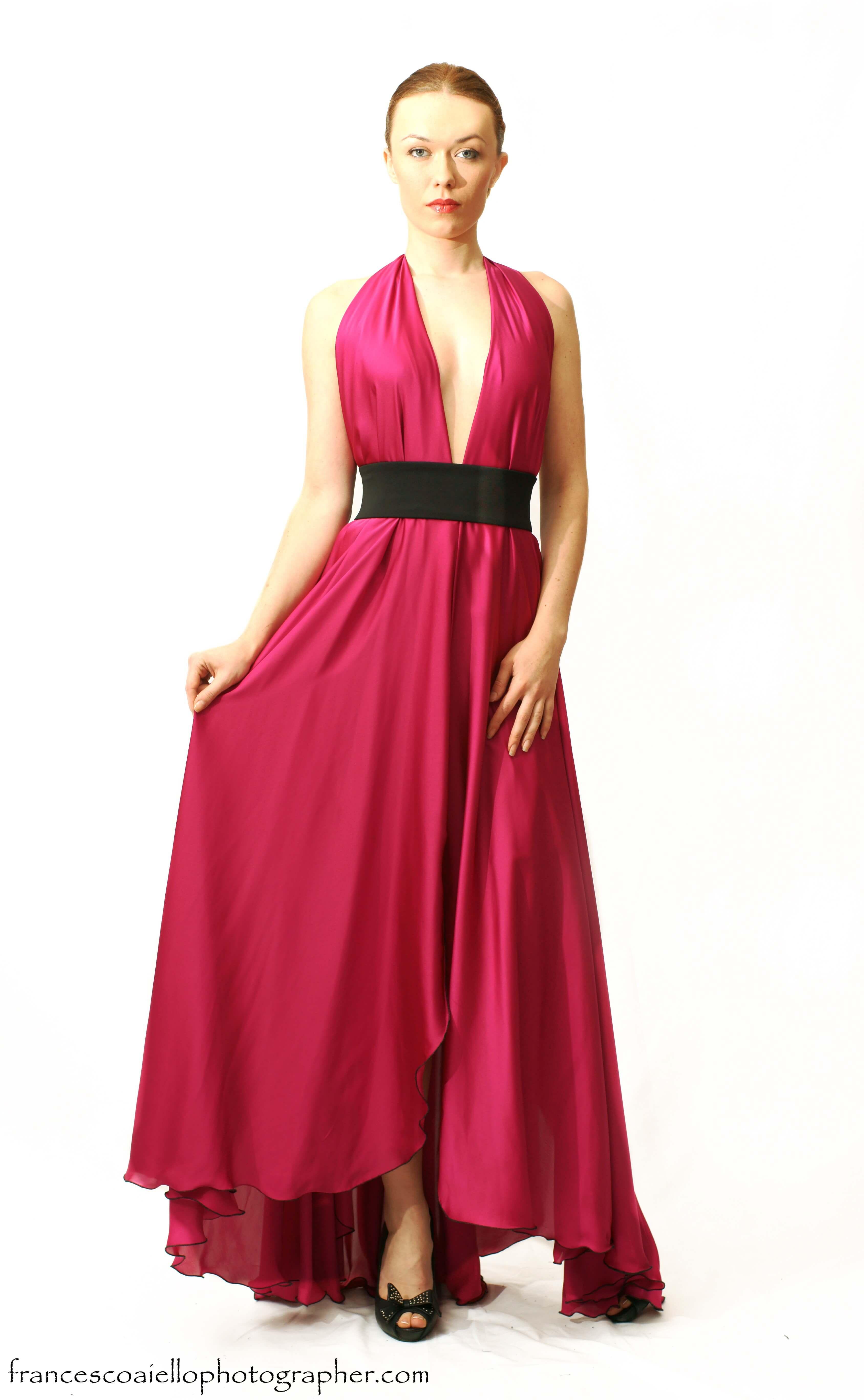 Vestido Largo Con Escote En V De Satén De Color Rosa Fucsia