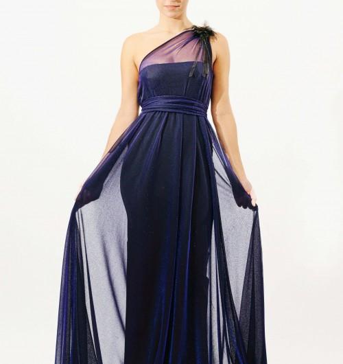 bceefbfa1 Vestido largo de gasa azul noche brillante con un solo tirante