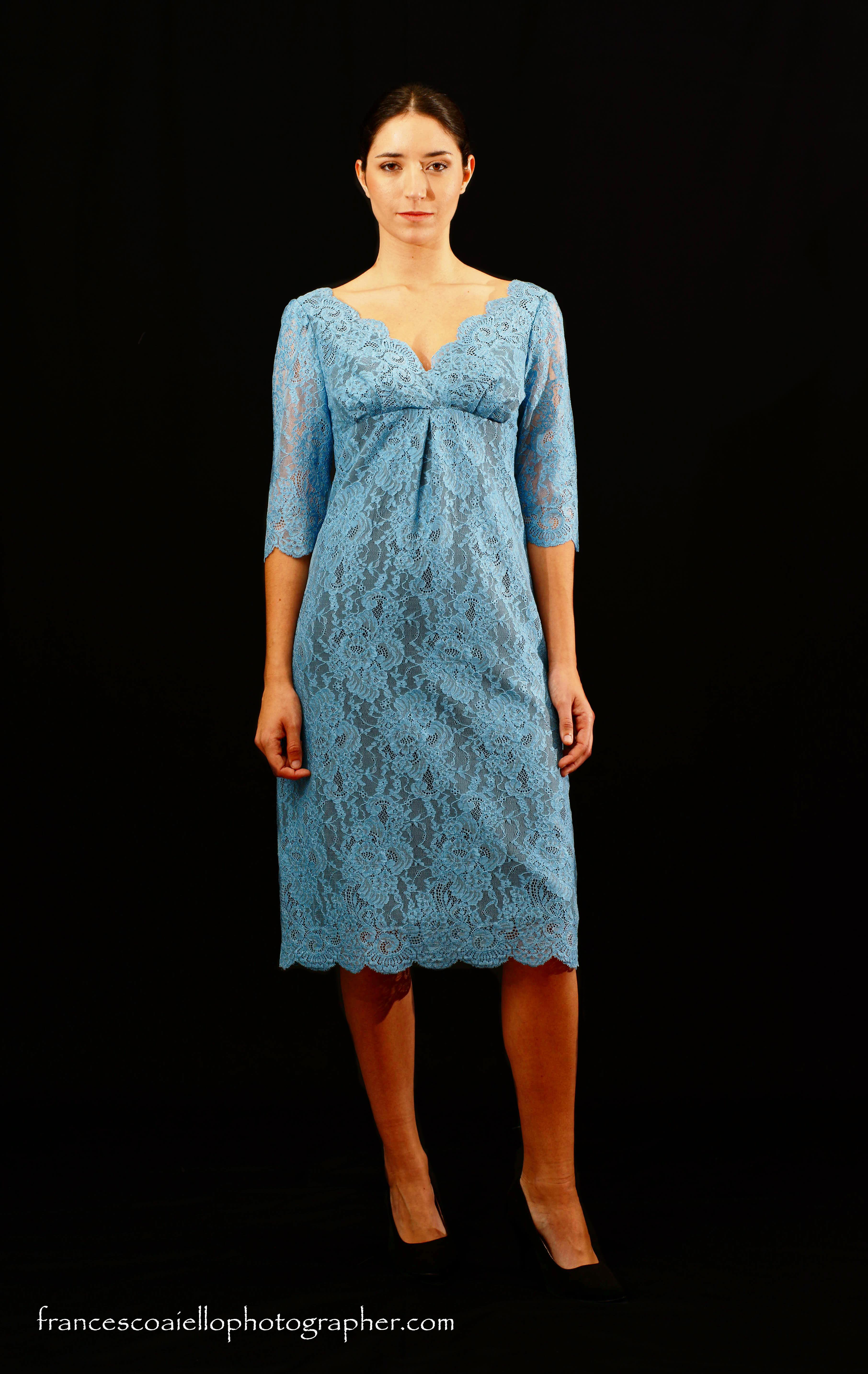 Vestido Manga Vestido Azul Azul Francesa wXUq515z