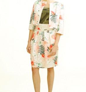 Falda casual de tablas estampada de talle alto en jacquard